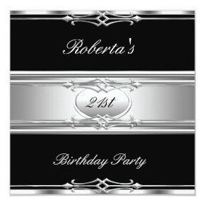 Elegant 21st Birthday Party Black Silver 21 Invitation