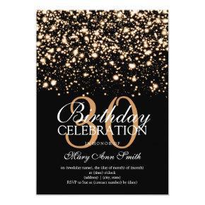 Elegant 30th Birthday Party Gold Midnight Glam Invitation