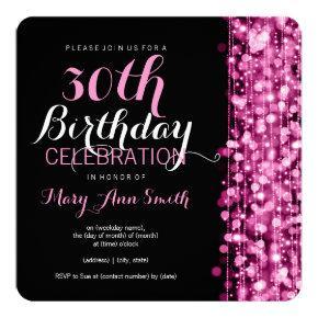 Elegant 30th Birthday Party Sparkles Pink Invitation