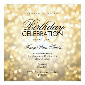 Elegant 40th Birthday Party Gold Glitter Lights Invitations