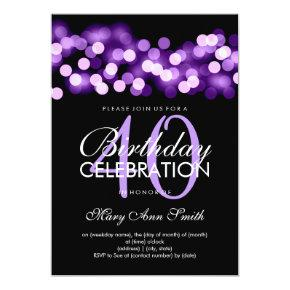 Elegant 40th Birthday Party Purple Hollywood Glam Invitations