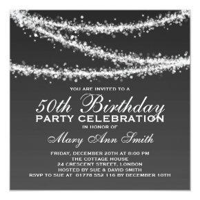 Elegant 50th Birthday Party Black String Lights Invitation