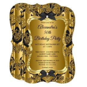 Elegant 50th Birthday Party Gold Golden Black 3 Invitation
