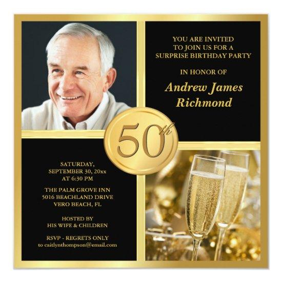 Elegant 50th birthday party invitations with photo candied clouds elegant 50th birthday party invitations with photo filmwisefo