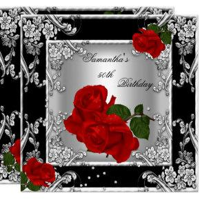 Elegant 50th Birthday Party Red Rose Silver Invitations