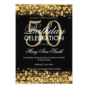 Elegant 50th Birthday Party Sparkles Gold Invitation