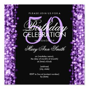Elegant 50th Birthday Party Sparkles Purple Invitation