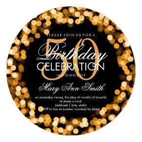 Elegant 50th Birthday Sparkling Lights Gold Card