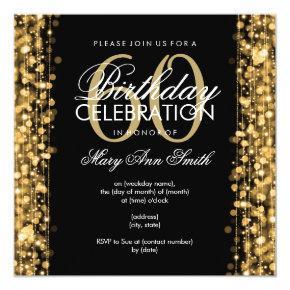 Elegant 60th Birthday Party Sparkles Gold Invitation