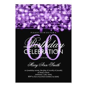 Elegant 60th Birthday Party Sparkles Purple Invitation