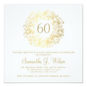 Elegant 60th Birthday Vintage Roses Gold Card