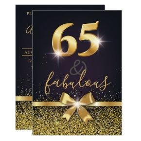 Elegant 65 & Fabulous Gold Glitter 65th Birthday Invitation