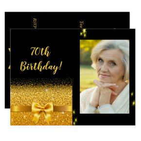 Elegant 70th Birthday Invitation Black Gold Photo