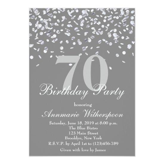 Elegant 70th birthday invitations silver confetti candied clouds elegant 70th birthday invitations silver confetti filmwisefo