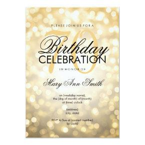 Elegant 70th Birthday Party Gold Glitter Lights Invitation