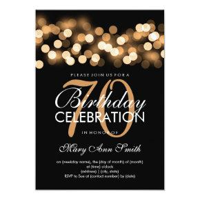 Elegant 70th Birthday Party Gold Hollywood Glam Card
