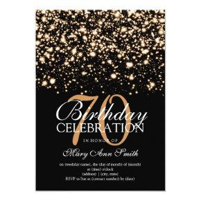 Elegant 70th Birthday Party Gold Midnight Glam Card