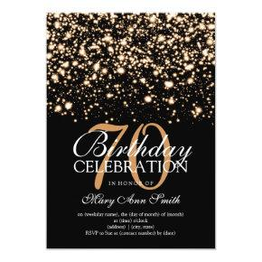 Elegant 70th Birthday Party Gold Midnight Glam Invitations