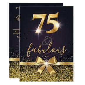 Elegant 75 & Fabulous Gold Glitter 75th Birthday Invitation