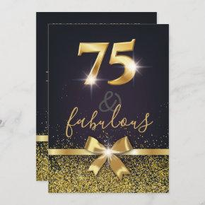 Elegant 75 & Fabulous Gold Glitter 75th Birthday Invitation