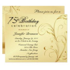 Elegant 75th Birthday Surprise Party Invitations