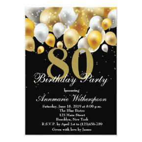 Elegant 80th Birthday Invitation Gold Balloons
