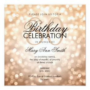 Elegant 80th Birthday Party Copper Glitter Lights Card