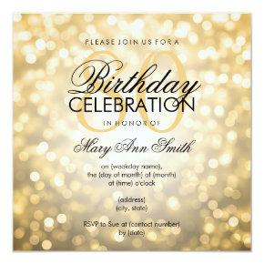 Elegant 80th Birthday Party Gold Glitter Lights Card
