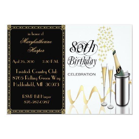 Elegant 80th Birthday Party Invitation