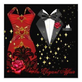 Elegant Affair Red Dress Black Tie Gold Red Rose 5 Invitation