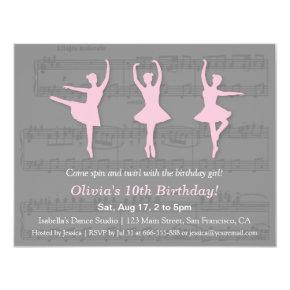 Elegant Ballerina Dance Birthday Party Invitations