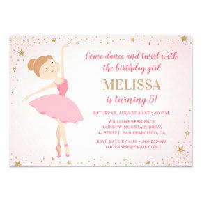 Elegant Ballerina Pink Gold Stars | Girl Birthday Invitation