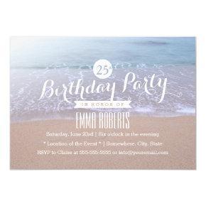 Elegant Beach Morning 25th Birthday Party Card