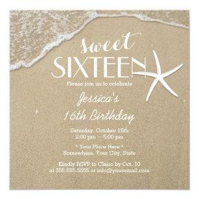 Elegant Beach & Starfish Sweet Sixteen Invitations