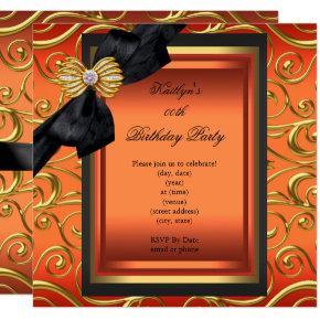 Elegant Birthday Party Black Damask Orange Gold Invitations