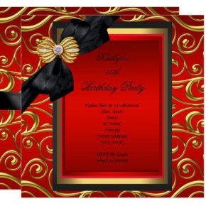 Elegant Birthday Party Black Damask Red Gold Invitations