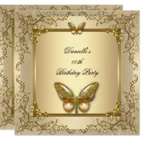 Elegant Birthday Party Gold Beige Butterfly Invitations
