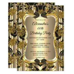 Elegant Birthday Party Gold Sepia Black Damask Invitations