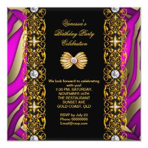 Elegant Pink And Black Party Birthday Invitations Candied Clouds
