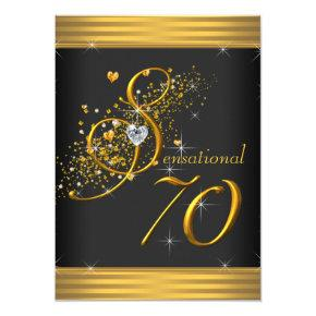 Elegant Black and Gold 70th Birthday Party Card