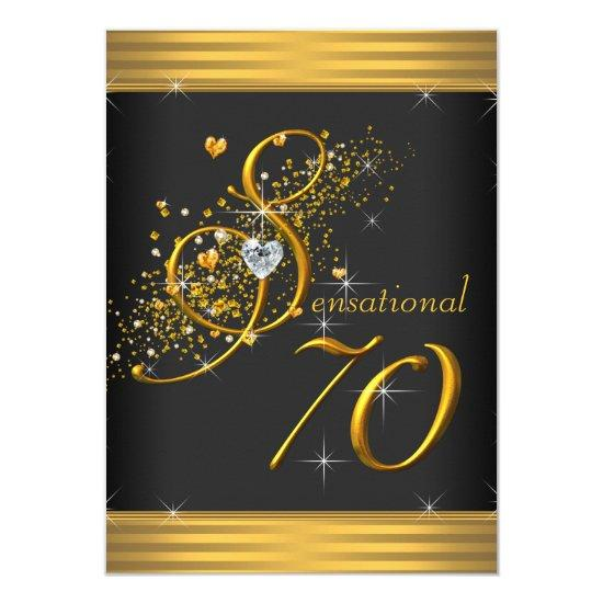 Elegant Black and Gold 70th Birthday Party