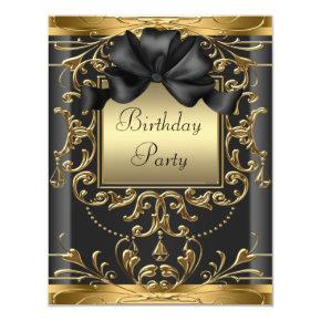Elegant Black and Gold Art Deco Birthday Party Card
