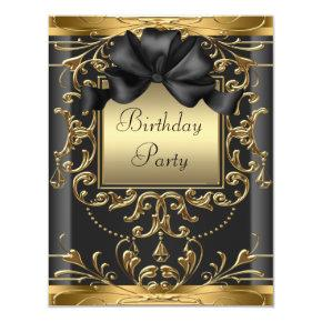Elegant Black and Gold Art Deco Birthday Party Invitation