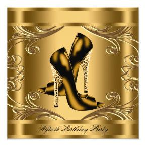 Elegant Black and Gold Birthday Party Invitations