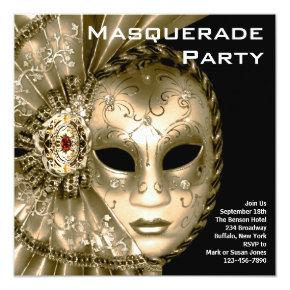 Elegant Black and Gold Masquerade Party Card