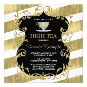Elegant Black and Gold Tea Party Invitation
