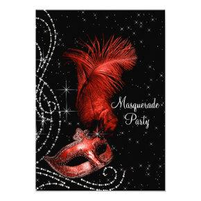 Elegant Black and Red Masquerade Party Invitation