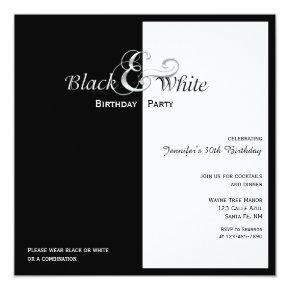 Elegant Black and White Party Card