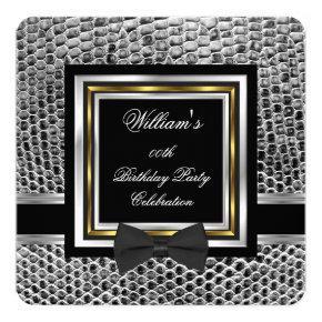 Elegant Black Bowtie Gold Silver Birthday Party Invitation