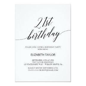 Elegant Black Calligraphy 21st Birthday Invitation